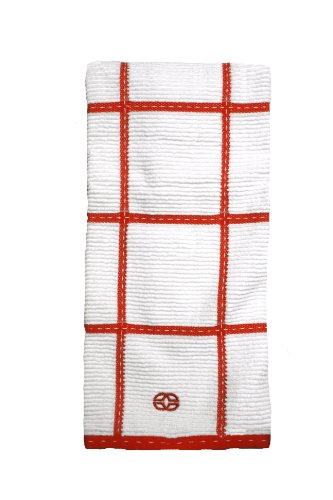 Calphalon Kitchen Towel - Calphalon Textiles Large Check Terry Kitchen Towel, Mandarin