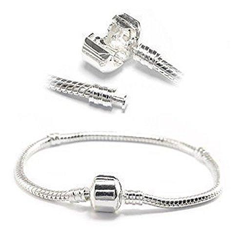 Silver Tone Snake Chain Classic Bead Barrel Clasp Bracelet for Beads Charms. (Pandora Style Bracelet)