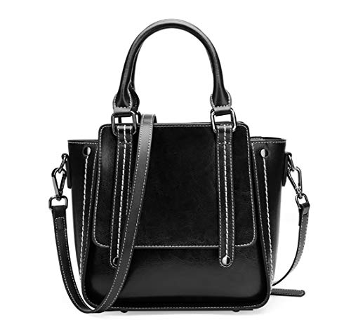 - Leather Crossbody Bag for Women Medium Small Tote Satchel with Strap Cowhide Leather (Black)
