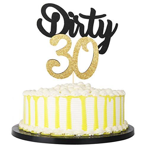 Dirty 30 Birthday Cakes (PALASASA Black Gold Glitter Dirty 30 Cake Topper , Thirty Sign , Happy 30th Birthday Party Decorations)