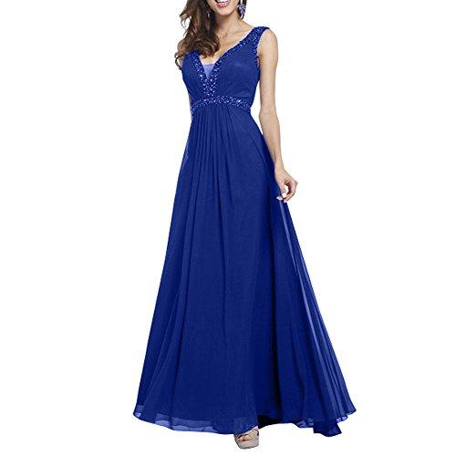 Partykleider Abendkleider Blau Royal Zwei Charmant Pailletten A traeger linie Sexy Neu Bodenlang Damen Ballkleider qwRZX0