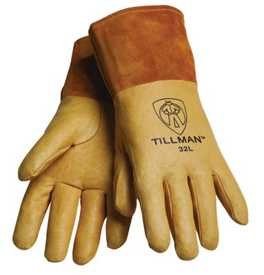 Tillman Medium Gold Top Grain Pigskin Unlined Premium Grade MIG Welders Gloves With Straight Thumb, 4'' Cuff And Kevlar® Lock Stitching