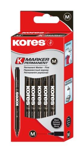 Kores Permanent Marker Fine, Faserspitze, 12 Stück, schwarz