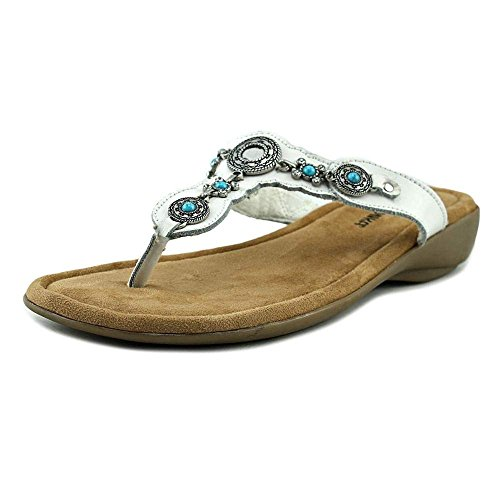 Minnetonka Womens Ratan Thong Leather Open Toe Casual Slide, White, Size 12.0 ()