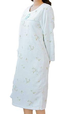 Wofupowga Womens Housecoat Flannel Sleepwear Fall Winter Thermal Nightdress  Comfy Nightgown Light Blue M cd411df54