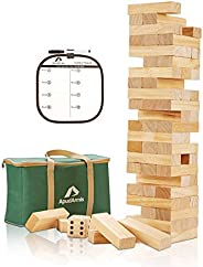 ApudArmis Giant Tumble Tower, 54 PCS Pine Wooden Stacking Timber Game with 1 Dice Set - Classic Block Board Ga