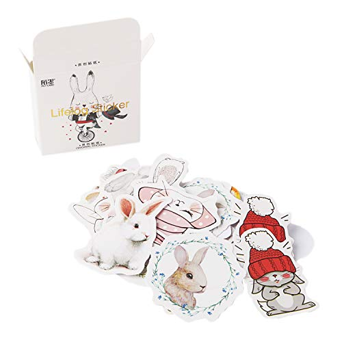 (Molshine 270pcs Various Special Shaped Stickers- Hello! Rabbit Series Decals for Personalize Laptops, Skateboards, Luggage, Cars, Bumpers, Bikes, Bicycles,Books)