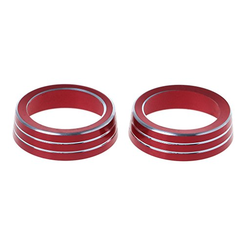Ring Coupe - Forgun 2X Aluminum Ring Knob Trim Cover for 2016-2018 Honda Civic Sedan Coupe Hatchback (Red)