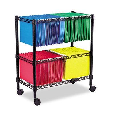 Alera ALEFW601426BL Two-Tier Rolling File Cart, 26w x14d x 29-1/2h, Black