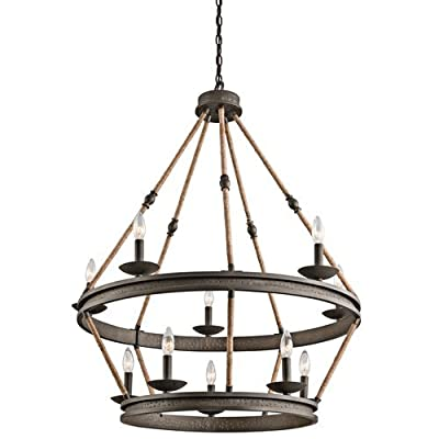 "Kichler 43424 Kearn 2 Tier Chandelier with 10-Lights - 72"" Chain Included - 34 I,"