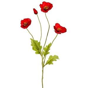 """Arcadia Silk Plantation 23.6"""" Poppy Spray Red (Pack of 12) 100"""
