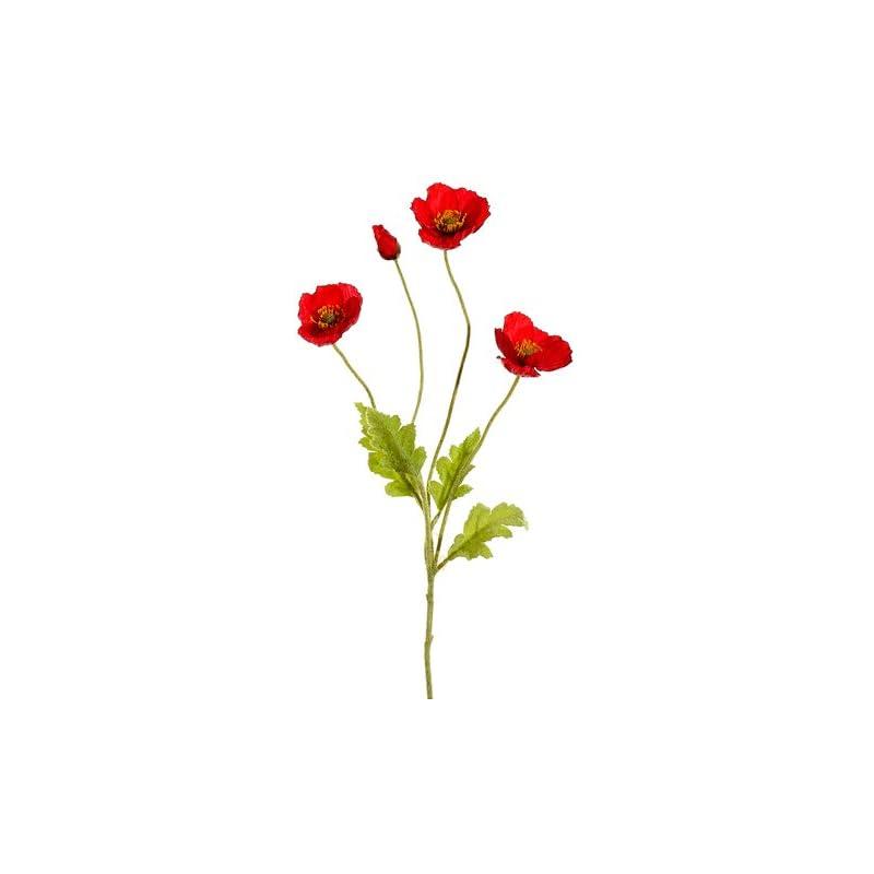 "silk flower arrangements arcadia silk plantation 23.6"" poppy spray red (pack of 12)"