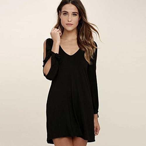 OverDose Moda de las mujeres fuera del hombro de manga larga mini vestido Negro