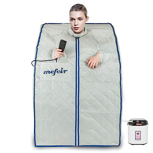 Mefeir Portable 2L Steam Sauna Home Spa, Full Body Slimming Loss Weight, Healthy Detox Therapy One Person, w/Enlarged Folding Chair (Steam Sauna)