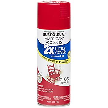 Rust Oleum 280716 American Accents Ultra Cover 2X Spray Paint, Gloss Apple Red, 12-Ounce
