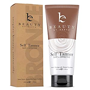 Self Tanner – With Organic Aloe Vera & Shea Butter, Sunless Tanning Lotion and Bronzer Buildable Light, Medium or Dark…