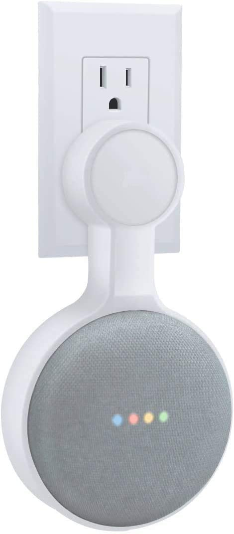 Sintron Wall Mount White For Google Home Mini, Google Assistant Accessories Smart Home Outlet Wall Mount Stand for Google Home Mini Speaker Holder, Space Saving Accessories Without Messy Wires (White)