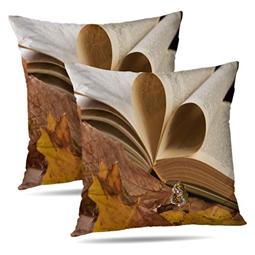 WAYATO Set of 2 Decorative Pillow Covers Jewelry Gold Diamond Ring Autumn Foliage Open Book Heart Shape Space Elegant Double-Sided Pattern Invisible Zipper Applies to Living Room (Invisible Set Diamond Bridal)