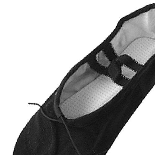 Chaussures de ballet - SODIAL(R) Chaussures de ballet de danse de gymnastique en toile noires pour dames Taille US 5,5