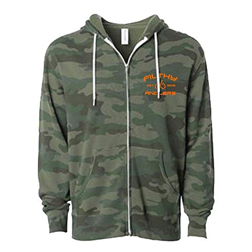 Filthy Anglers Fishing Full-Zip Camo Hoodie for Men and Women (M, Woodland Camo)