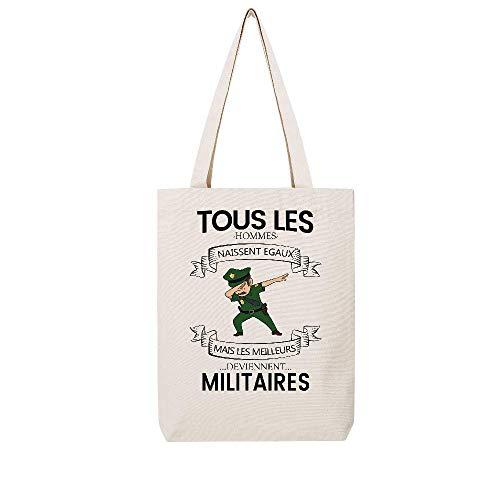 Militaires Hommes Meilleurs Tous Naissent Lookmykase Tote Tissus Lmk Deviennent Beige Egaux Mais Les wqXfBPax
