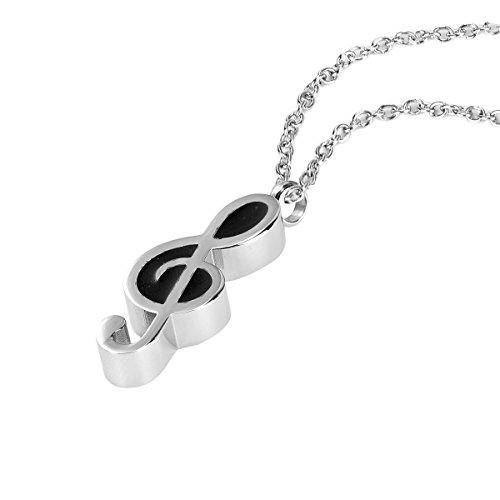 ZARABE Cremation Jewelry Music Note Memorial Urn Pendant Ash Keepsake Necklace
