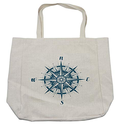 Lunarable Vintage Nautical Tattoo Shopping Bag, Cardinal Directions Compass Rose Monochrome Simplistic Pattern, Eco-Friendly Reusable Bag for Groceries Beach and More, 15.5