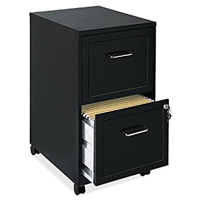 File Cabinet 2 Drawer Wheels Rolling Storage Home Office with Lock and Key Furniture Mobile Filing Cart Organizer Stainless Steel Black