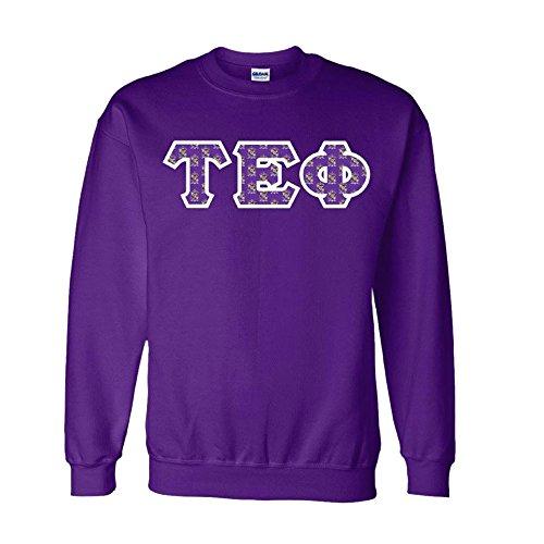 (Tau Epsilon Phi Fraternity Crest Twill Letter Crewneck Sweatshirt X-Large Purple)
