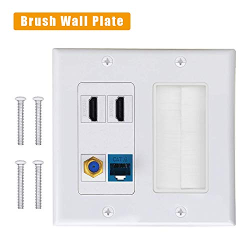 2HDMI HDTV + CAT6 RJ45 Ethernet + Coaxial Cable TV F Type Keystone Face Plate VICTEK Brush Wall Plate, Wall Socket for HDTV, HDMI, Home Theater Systems.