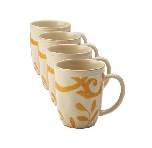 Rachael Ray Dinnerware Gold Scroll 4-Piece Mug Set, Almond Cream