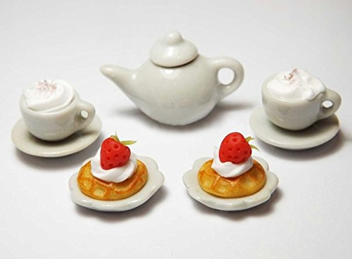 Dollhouse Miniature Strawberry Waffles Teapot Coffee Cups Set