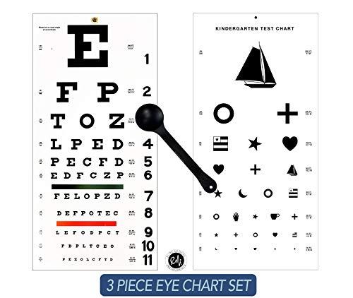- EMI OCC-WSK 3 piece set - Occluder Plus Snellen AND Kindergarten/Children Plastic Eye Vision Exam Test Wall Charts 22 by 11 in.