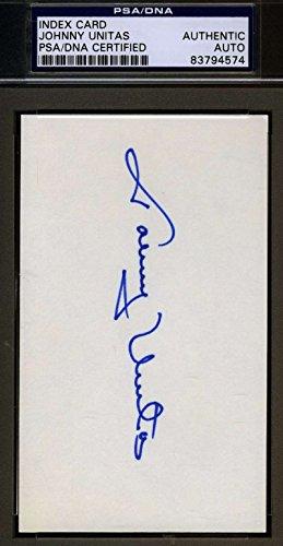 JOHNNY UNITAS PSA/DNA SIGNED 3X5 INDEX CARD AUTHENTICATED AUTOGRAPH