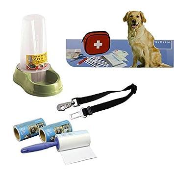 Perros/Animales Viaje/Primeros Auxilios/forro OD. Dispensador de agua/ - Quitapelusas y Auto correa adaptador Set: Amazon.es: Productos para mascotas