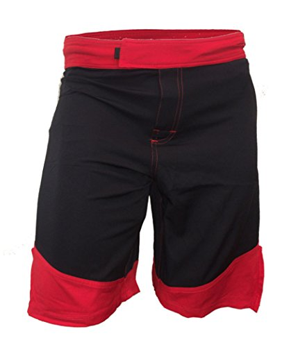 Epic MMA Gear WOD Shorts for Men Agility 3.0 (32, Black/Red Trim)