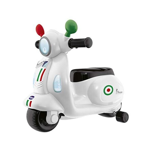 Chicco Vespa per Bambini Primavera Bianca, Moto Giocattolo Cavalcabile con Pannello Elettronico, Luci e Suoni, Ruote di… 2