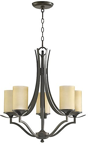 Quorum International 6096-5-86 Atwood Collection 5-Light Chandelier, Oiled Bronze Finish with Amber Scavo Glass