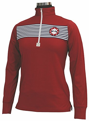 - Equine Couture Women's Patriot Long Sleeve Polo, EC Red, 1X