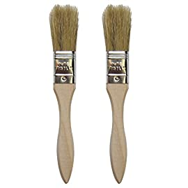 "Chef Craft 20393-2PK Set of 2 Natural Pastry Brushes, Wood Handle, 7.5"" 1.6"" Long Pure Bristles, Silver 7 Set of 2 natural bristle pastry brushes, wood handle, 7. 5"" Long with 1. 6"" Long pure bristles"
