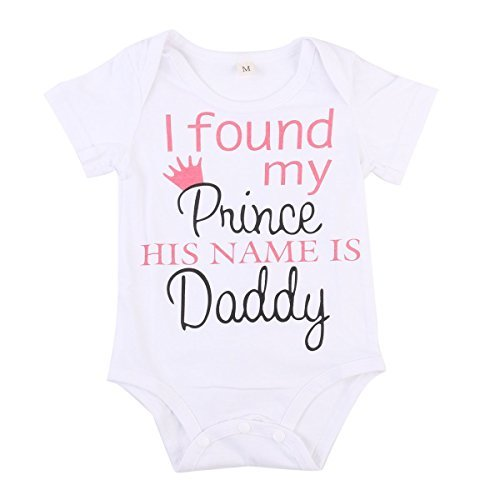 Baby Girls Short Sleeve I Found My Prince His Name Is Daddy Bodysuit