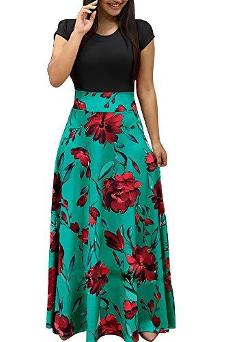 (Demetory Women`s Summer Short Sleeve Empire Waist Polka Dot Flowy Long Maxi Dress Multicolored Medium)