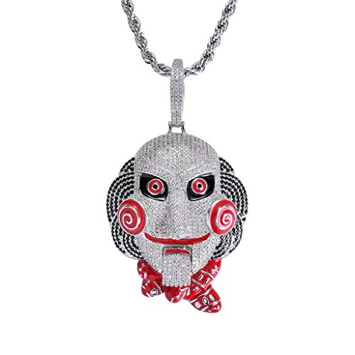 MoCa Jewelry Hip Hop Iced Out Bling 6ix9ine Chain Clown 69 Tekashi69 Medallion White Gold Plated Big Pendant Saw Billy Inspired Necklace, (Silver) -
