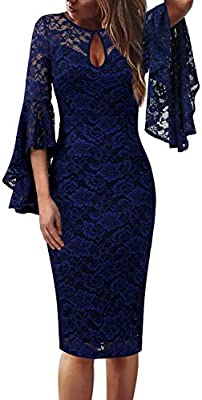 Womens Keyhole Front Bell Sleeve Floral Lace Cocktail Party Bodycon Sheath Dress