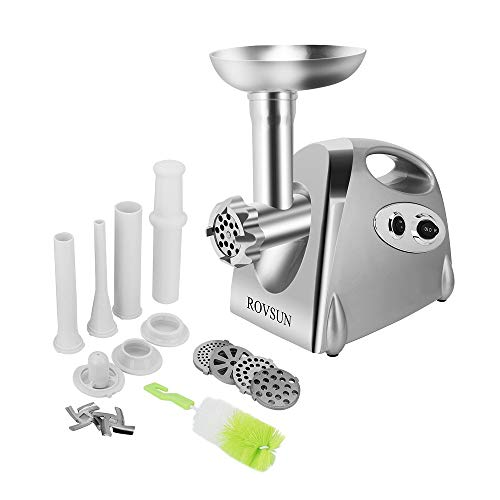 ROVSUN Electric Meat Grinder, 800W Heavy Duty Mincer Sausage Stuffer Food Processor with 4 Grinding Plates 3 Sausage Tubes 2 Stainless Steel Blades Kubbe Attachment & Brush, For Home Use, ETL Listed ()