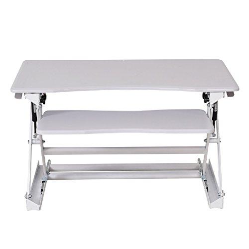 Home Office Height Adjustable Computer Desk SitStand Desktop Workstation White