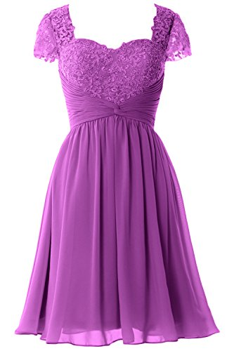 MACloth Women Cap Sleeve Cocktail Dress Short Lace Chiffon Mother of Bride Dress Amethyst