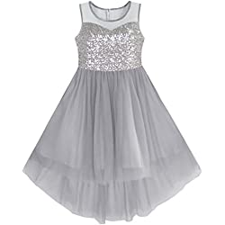 KB12 Girls Dress Gray Sequined Tulle Hi-lo Wedding Party Dress Size 8