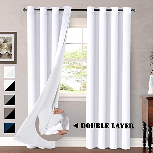 - H.VERSAILTEX White Blackout Curtains (2 Layers) Rich Faux Silk Window Panels with White Liner Thermal Insulated Solid Grommet Curtain Drapes, Privacy Assured (Set of 2, 52 x 84 Inch, Pure White)