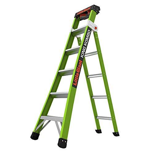 Little-Giant-Ladder-Systems-13610-001-Green-King-Kombo-Pro-6-A-frame-10-Extension-Hi-Viz-Type-1AA-6-Ft